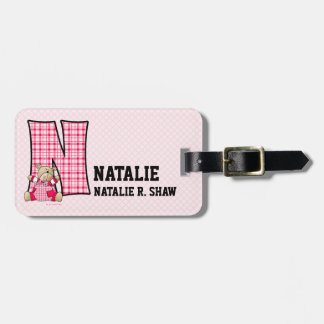 "Kid's Pink Gingham Monogram ""N"" Luggage Tags"