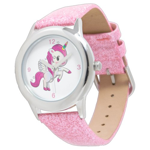 Kids Pink Glitter Strap Cute Winged Unicorn Watch