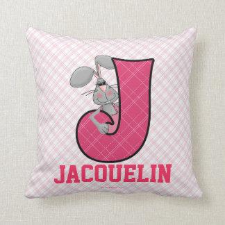 "Kid's Pink Jackrabbit Monogram ""J"" Pillow"