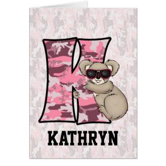"Kid's Pink Koala Monogram ""K"" Cards"