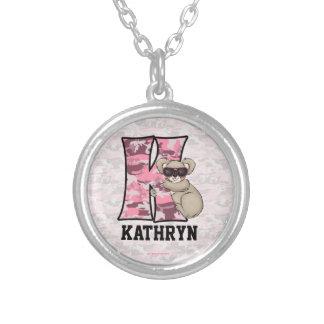 "Kid's Pink Koala Monogram ""K"" Necklace"