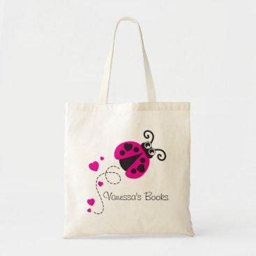 Valentines Themed Kids pink ladybug / ladybird hearts library bag