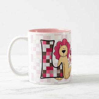 """Kid's Pink Lion Monogram """"L"""" Mug"""