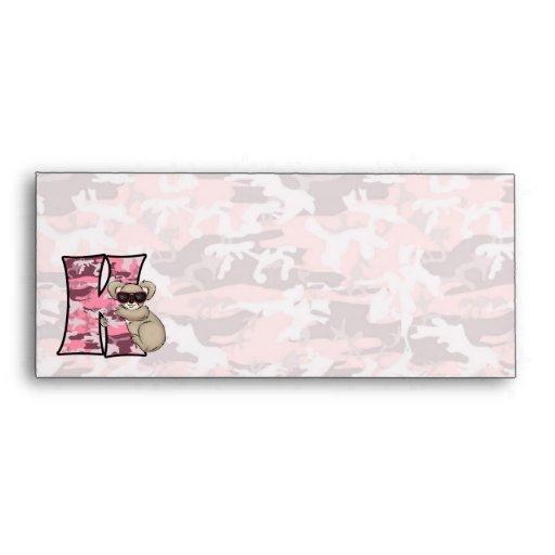"""Kid's Pink Monogram """"K"""" #10 Envelopes"""