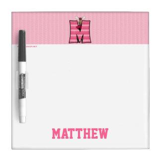 "Kid's Pink Monogram ""M"" Dry Erase Board"