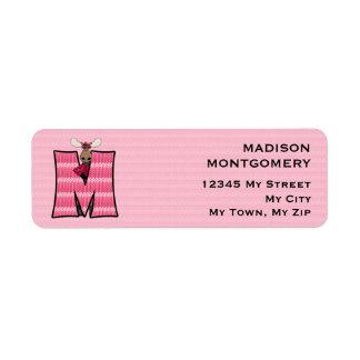 "Kid's Pink Moose Monogram ""M"" Address Labels"