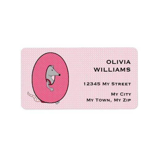 "Kid's Pink Opossum Monogram ""O"" Address Labels"