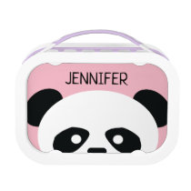 Kids Pink Panda Bear Face Personalized Lunch Box