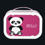 """Kids Pink Panda Bear Personalized Kawaii Lunch Box<br><div class=""""desc"""">Kids Pink Panda Bear Kawaii Personalized School Lunchbox. Adorable panda bear in black and white on a pink background. Personalize with name on front. Pattern on both sides. www.SamAnnDesign.com</div>"""