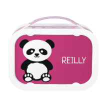Kids Pink Panda Bear Personalized Kawaii Lunch Box
