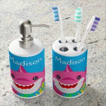 Kids Pink Shark Family Personalized Bathroom Teeth Bath Set
