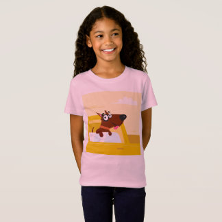 Kids pink tshirt with taxi DOG