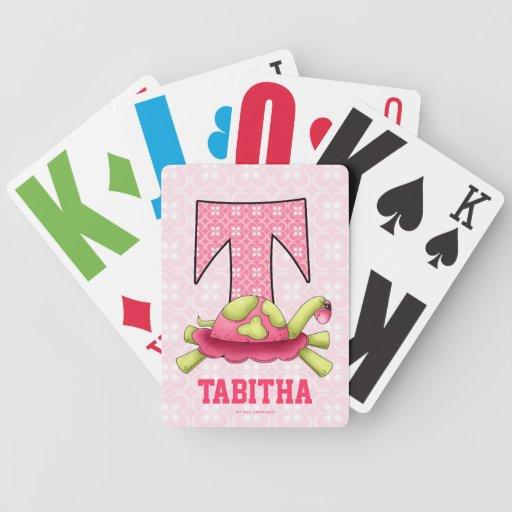 "Kid's Pink Turtle Monogram ""T"" Playing Cards"