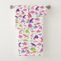 Kids Pink Watercolor Dinosaur Pattern Girls Bath Towel Set