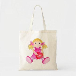 Kids pink whimsical rag doll art library bag