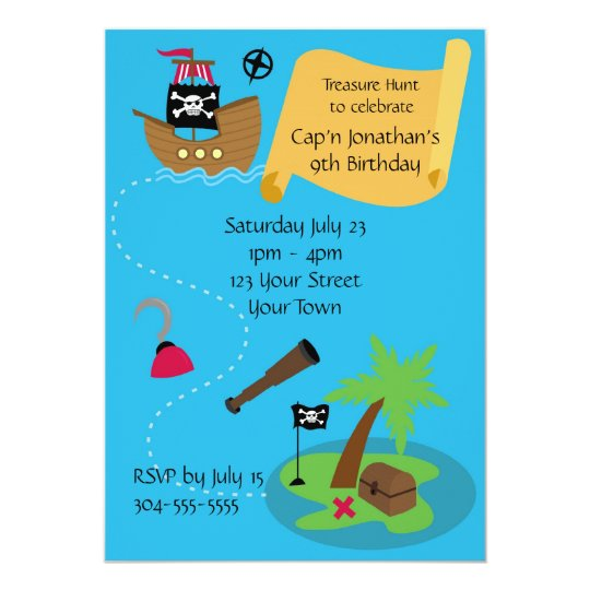 Kids Pirate Birthday Party Card