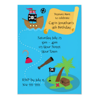 Kids Pirate Birthday Party Personalized Announcement