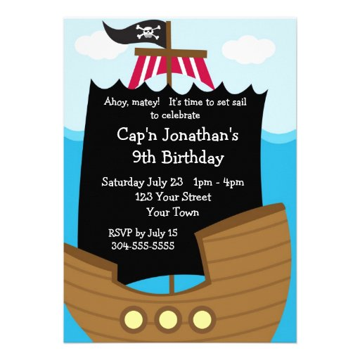 Kids Pirate Ship Birthday Party Personalized Invitations