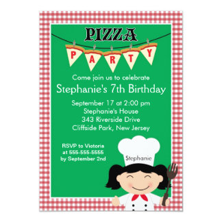 Kids Pizza Party Birthday Party Invitation