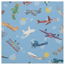 Kids Plane Pattern Flying Airplanes Vehicles Fabric