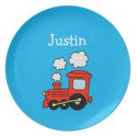 Kids plate with red toy choo choo train