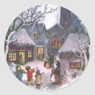 Kids Play Music for Lit Up Town Vintage New Year Classic Round Sticker
