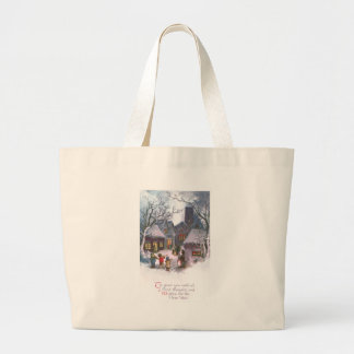 Kids Play Music for Lit Up Town Vintage New Year Large Tote Bag