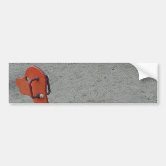 Kids Playground Orange Dog Toy in Sand Car Bumper Sticker