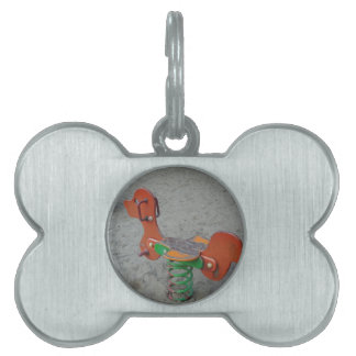 Kids Playground Orange Dog Toy in Sand Pet ID Tag