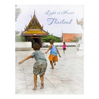 Kids Playing Around Temple Postcard