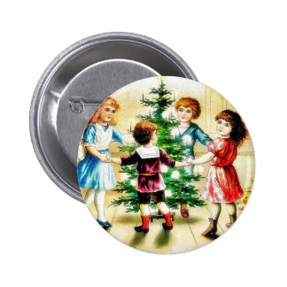 Kids playing around the decorated christmas tree button