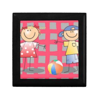 Kids playing ball cartoon art trinket box