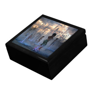 Kids Playing in Fountain at Sunset Austin Texas 2 Gift Box
