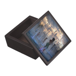 Kids Playing in Fountain at Sunset Austin Texas 2 Premium Gift Boxes
