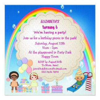 Kids Playing in Playground Party Invites