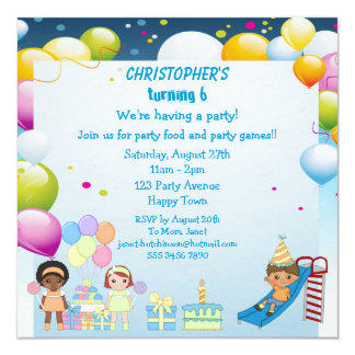 "Kids Playing in Playground Party Invites 5.25"" Square Invitation Card"