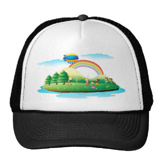 Kids playing in the ground trucker hat