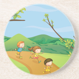 Kids playing in the hills coasters