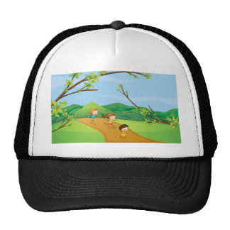 Kids playing in the hills trucker hat