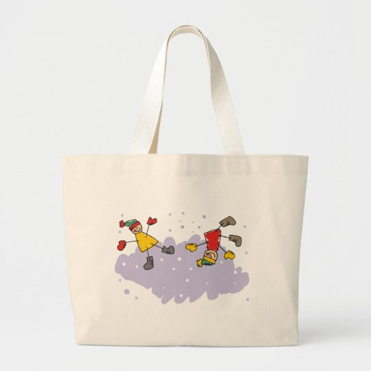Kids Playing In The Snow Large Tote Bag