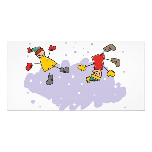 Kids Playing In The Snow Photo Card