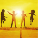 Kids Playing in the Summertime on a Pier Cutout