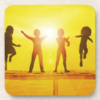 Kids Playing in the Summertime on a Pier Drink Coaster