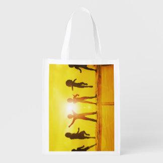 Kids Playing in the Summertime on a Pier Reusable Grocery Bag
