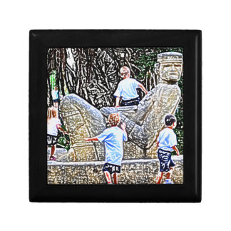 kids playing on statue colored pencil look jewelry boxes