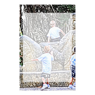 kids playing on statue colored pencil look stationery
