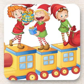 kids playing on train coaster