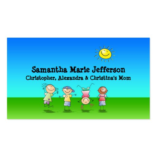 Kids Playing Outdoors Calling Card, Personal Use Business Card