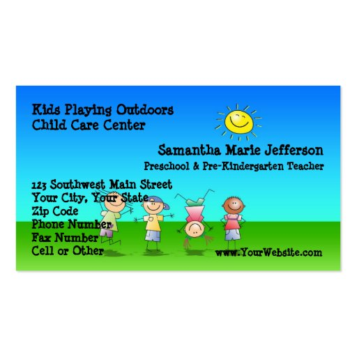 Kids Playing Outdoors Child Care Business Cards   Zazzle