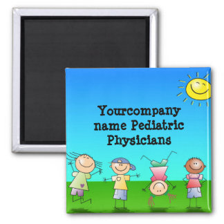Kids Playing Outdoors on a Sunny Day 2 Inch Square Magnet